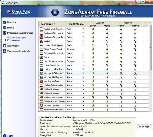 ZoneAlarm Grundeinst.1 - (sicherheit, Firewall, konfigurieren)