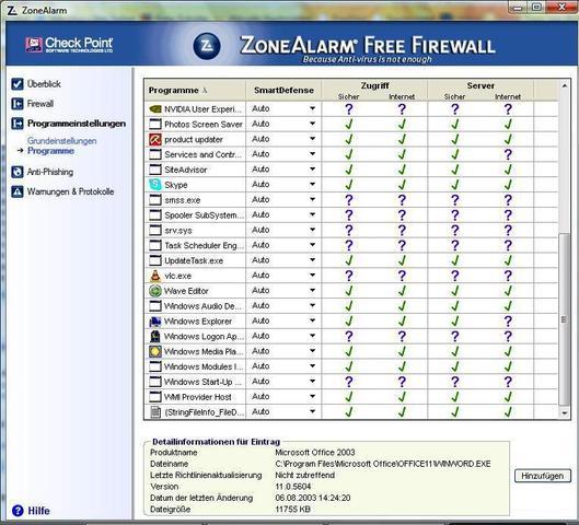 Zonealarm, Grundeinst. 2 - (sicherheit, Firewall, konfigurieren)