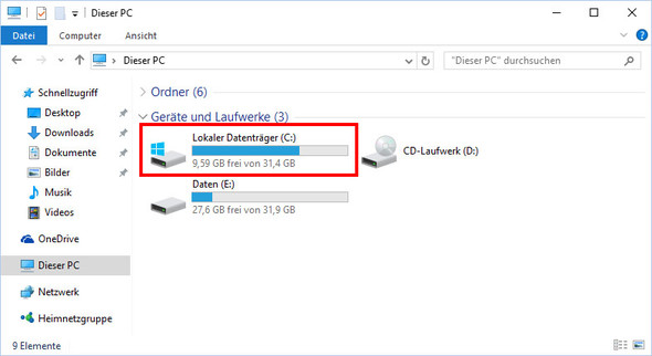 gewünscht (mit Balken zur Speicherplatzanzeige) - (Windows, Explorer)