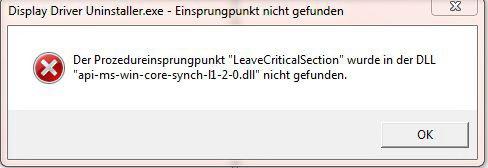 """Beim Ausführen des Programms """"DDU"""" bekomme ich folgende Fehlermeldung - was tun?"""