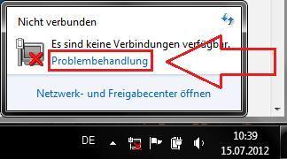 Internetverbindung erst nach Problembehandlung, danach Symbol mit rotem X trotz WLAN Verbindung
