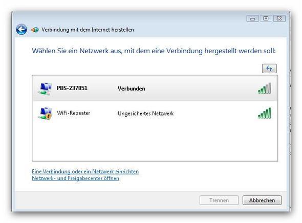 Netzwerk wählen - (Internetverbindung, WLAN-Repeater)