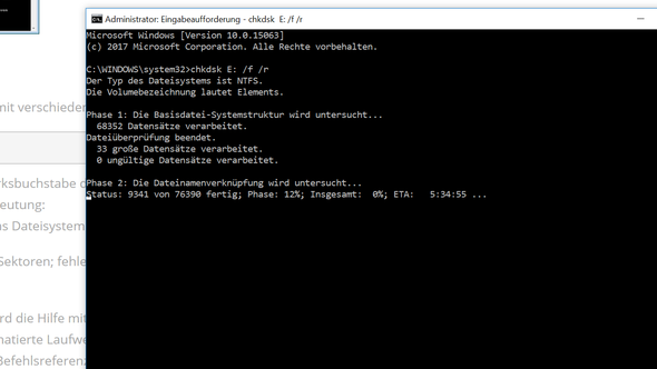 chkdsk - (Festplatte, externe Festplatte, Datenträger)