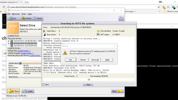 getDataBack- fehlerhafte Sektoren - (Festplatte, externe Festplatte, Datenträger)
