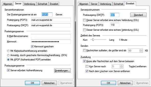 Meine Einstellungen - (Windows Live Mail, mailserver)