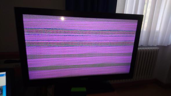Laptop via VGA an TV anschluss nur Lila Verzerrungen?