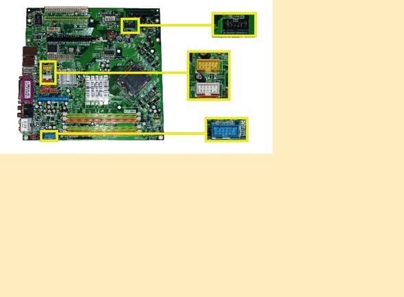 Mainboard farbige Buchsen für ICY-Box - (Mainboard Medion-PC, Anschluß Cardreader, Farbcodierung Mainboard-Buchsen)