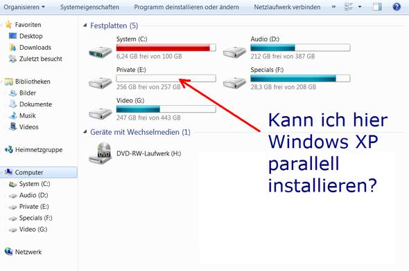 meine Partitionen - (Win7  XP, parallell)