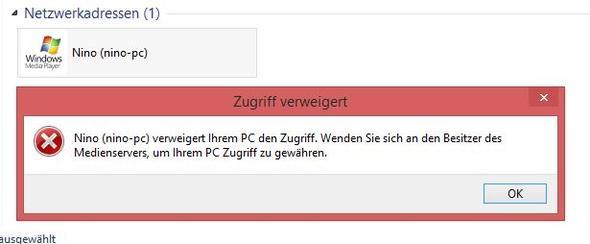 Screenshot - (Windows 8, Media Player, Zugriff)