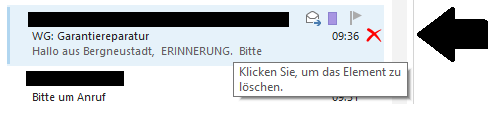 """Outlook: Kann man das """"Löschen"""" Symbol neben jeder Mail ausblenden?"""