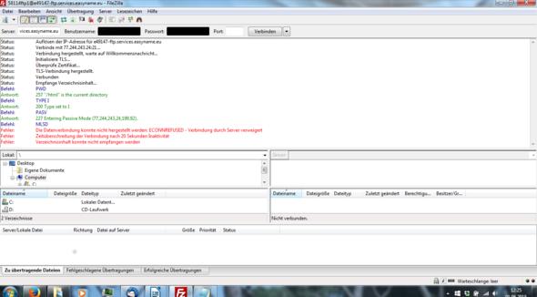 Problem mit FileZilla, Support weiß auch nicht weiter, bitte Hilfe.