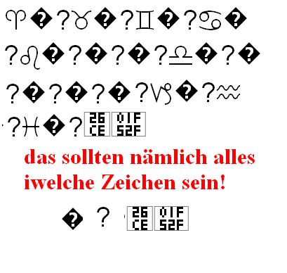 Darstellung bei mir - (Zeichen, Unicode)
