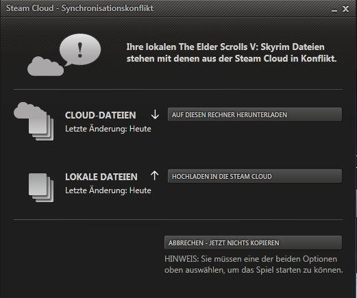 Steam Cloaud Synchronisationskonflikt HILFE !