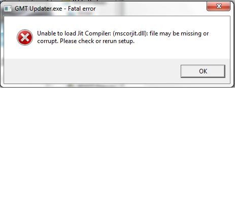 Unable to load jit compiler mscorjit dll file may be missing or