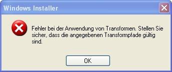 Fehler bei Anwendung von Transformen - (nicht installierbar, Nero Waveeditor)