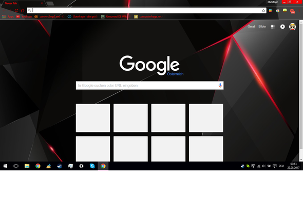 Wie bekomme ich bei Google Chrome die weißen Kästchen bei der Startseite weg?