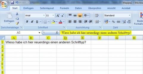 Wie kann ich die Standardschrift bei Excel 2007 ändern?