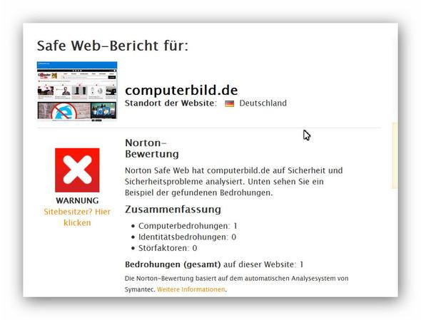 CB 2 Warnung - (Norton, Computerbild)