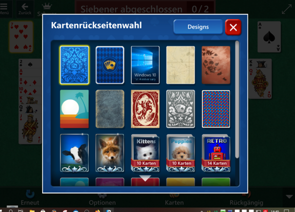 Win 10 Solitaire spinnt?