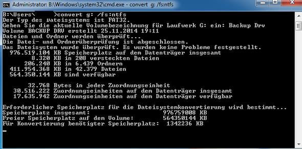 Windows 7: Convert Befehl dauert zu lange