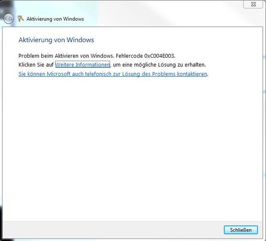 Fehlermeldung - (Windows 7, Product Key)
