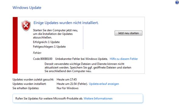 Windows 7 Update Service Pack 1 Fehler Code 800B0100