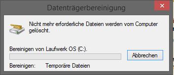 Windows Datenträgerbereinigung funktioniert nicht.