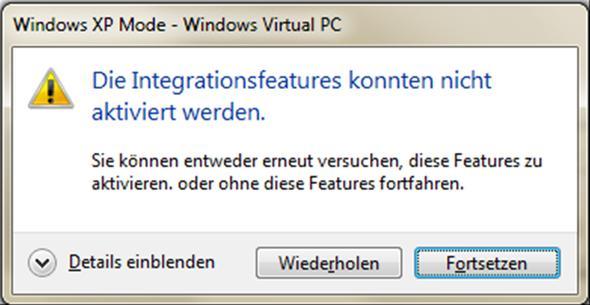 Fehlermeldung XP Mode - (Win7, XP Mode)