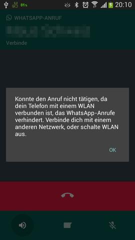 Whats-App-Fehlermeldung - (WLAN, WhatsApp, VOIP)