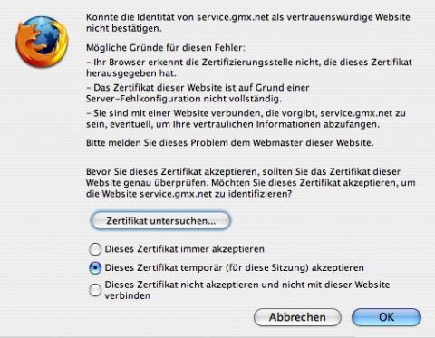 Sicherheitszertifikat 2 - (Internet, Browser, Fehlermeldung)
